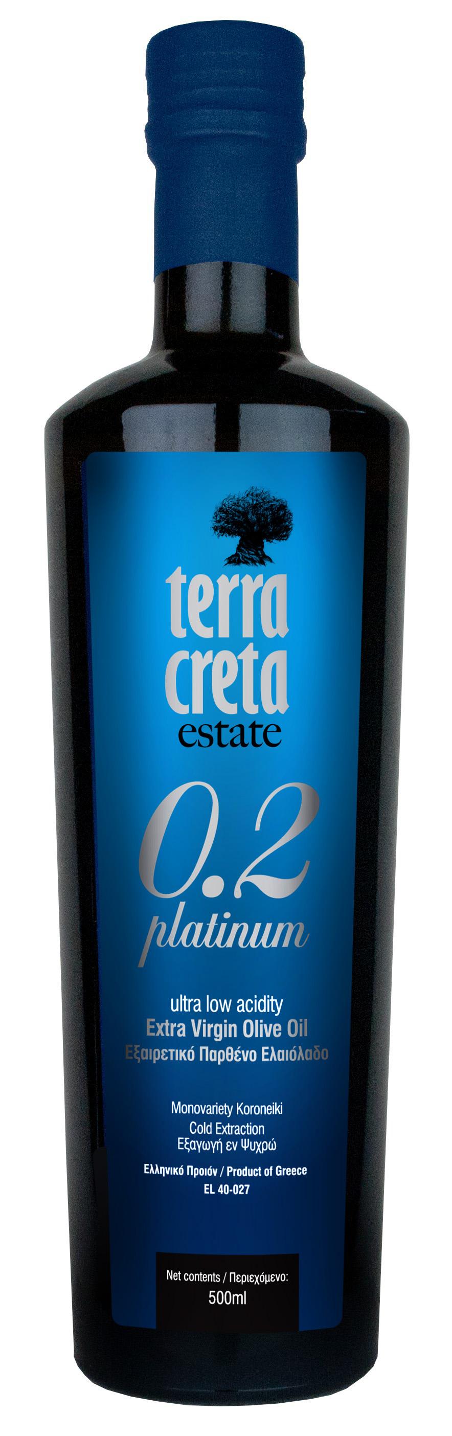 Terra Creta Extra-neitsytoliiviöljy, PLATINUM, 500ml