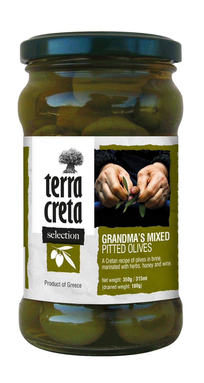 Terra Creta Greek Grandma's Mixed Olives, Kivetön Oliivilajitelma, 290 g