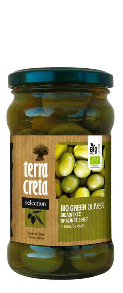 Terra Greek Green Vihreät Oliivit, Kivellinen, Luomu, 290 g