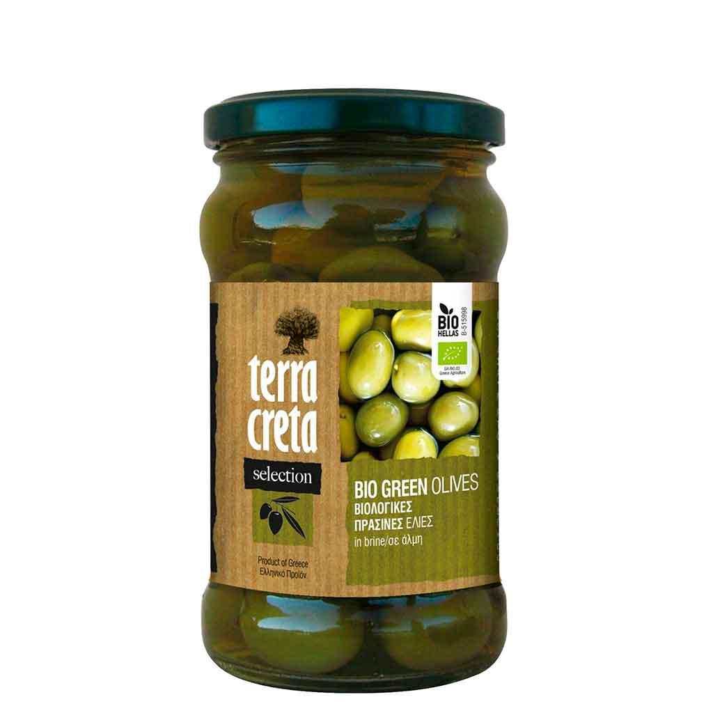 Terra Creta Greek Green Vihreät Oliivit, Kivettömät, Luomu, 290 g