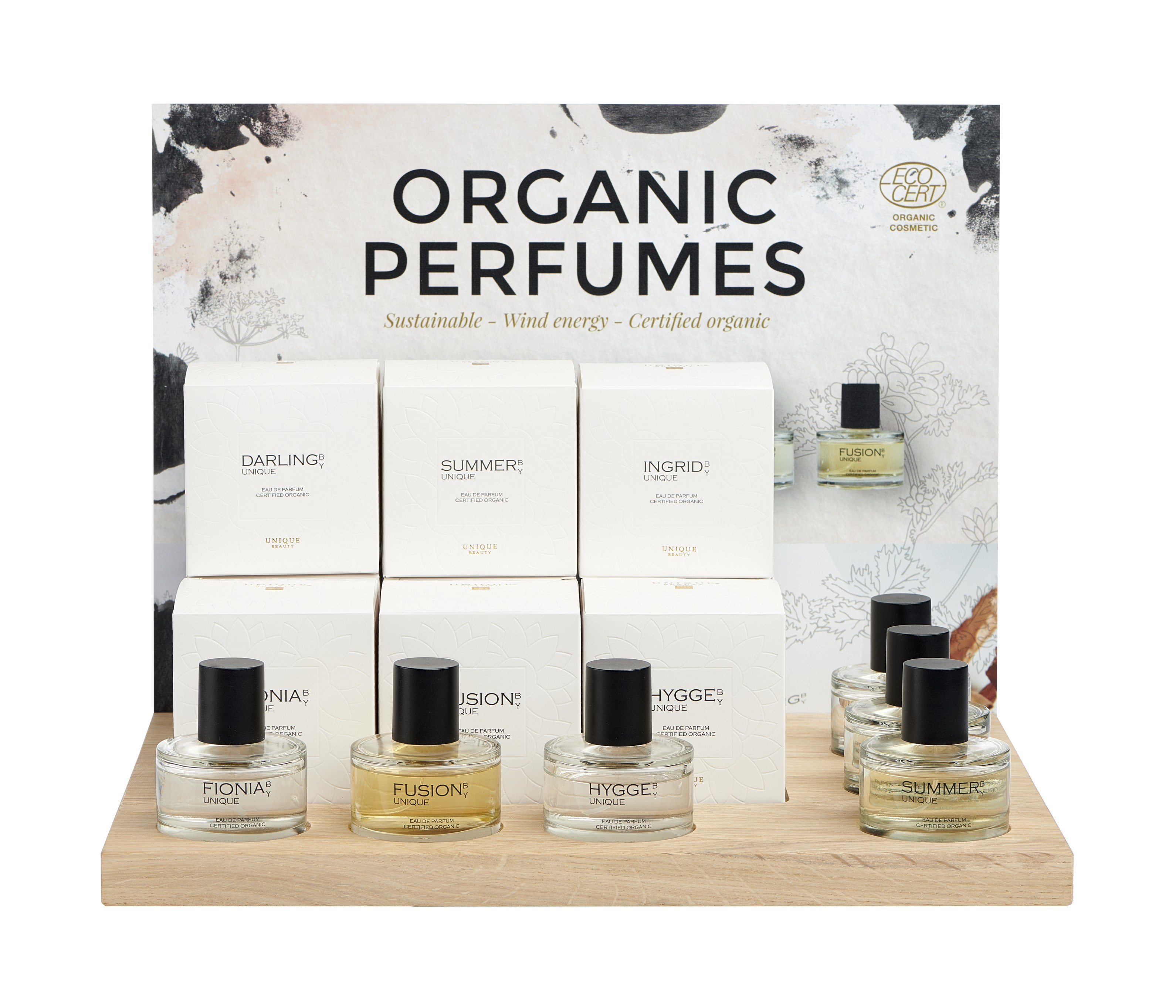 Unique Beauty hajuvesi -display kuudelle tuoksulle