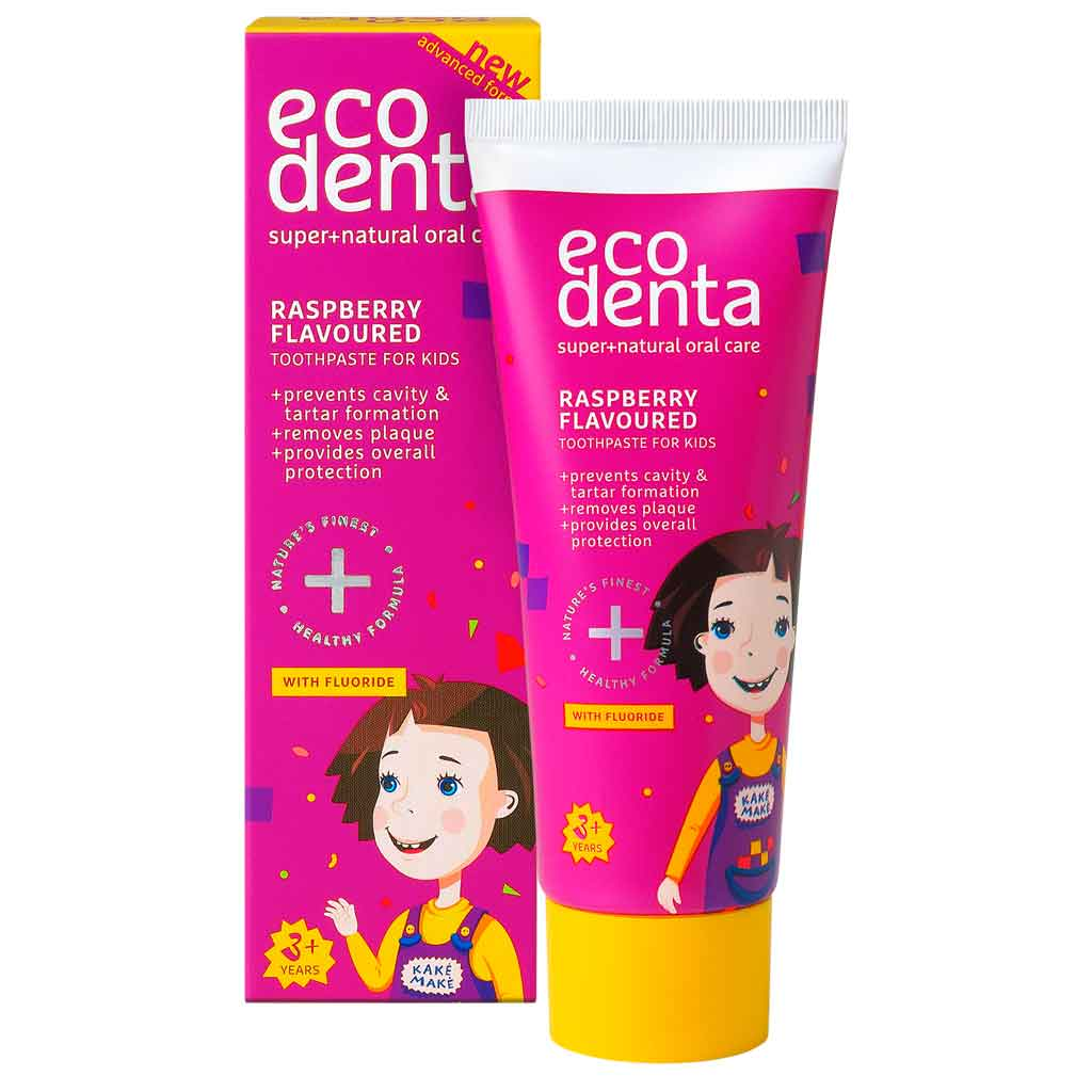 Ecodenta Raspberry flavoured toothpaste for kids Lasten hammastahna