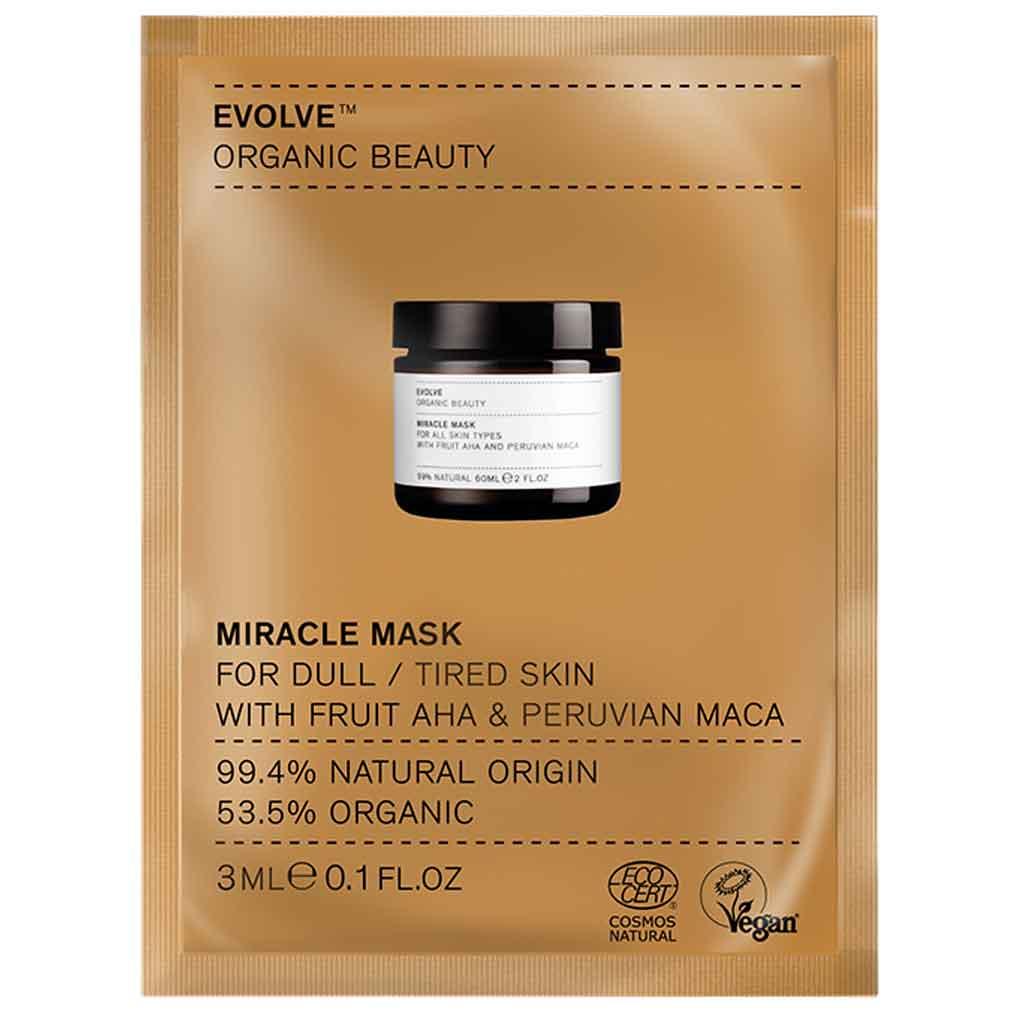 Evolve Organic Beauty Miracle Mask AHA Kuoriva hedelmähapponaamio 3 ml Näyte