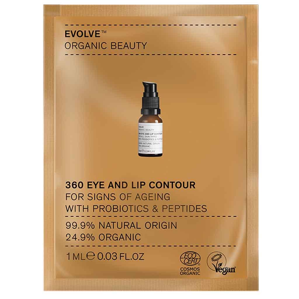 Evolve Organic Beauty 360 Eye & Lip Contour huulten- ja silmänympärysvoide 1 ml Näyte