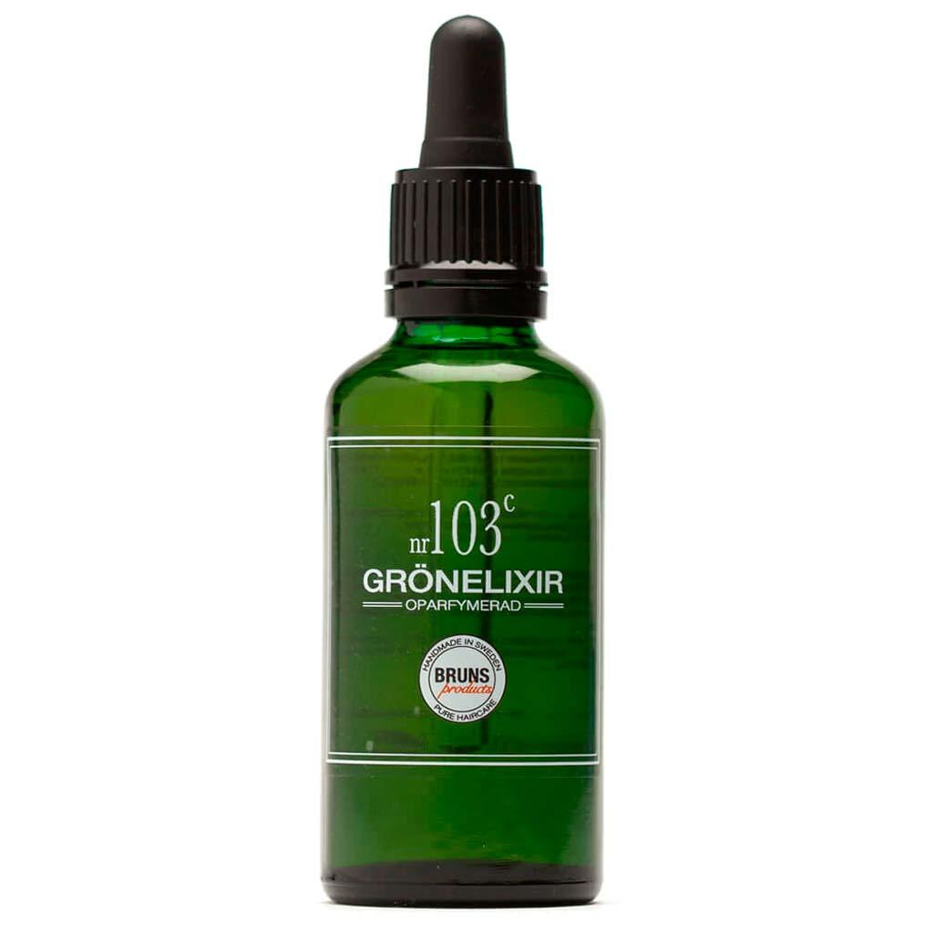 BRUNS Products Nr103c Unscented Green Elixir Hajusteeton Seerumi Hiuspohjalle ja kasvoille 50 ml