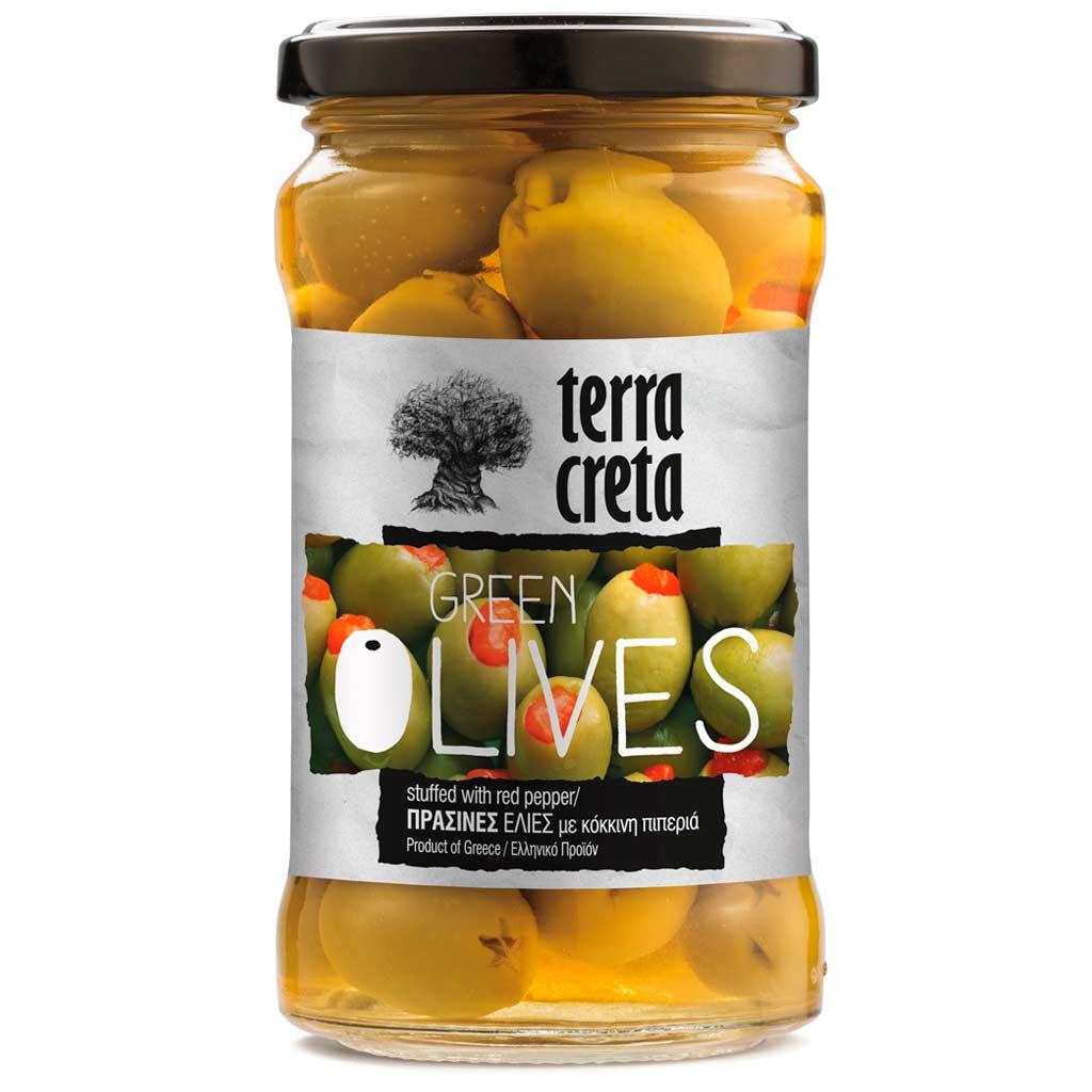 Terra Creta Greek Green Olives Vihreät Paprikatäytteiset Oliivit, 160 g