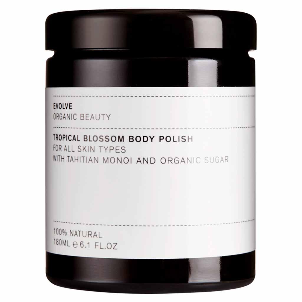 Evolve Organic Beauty Tropical Blossom Body Polish Sokerikuorintavoide 180ml  (Uudistunut ruohopakkaus)