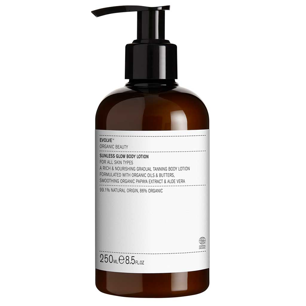 Evolve Organic Beauty Sunless Glow Kevyesti itseruskettava vartalovoide 250ml