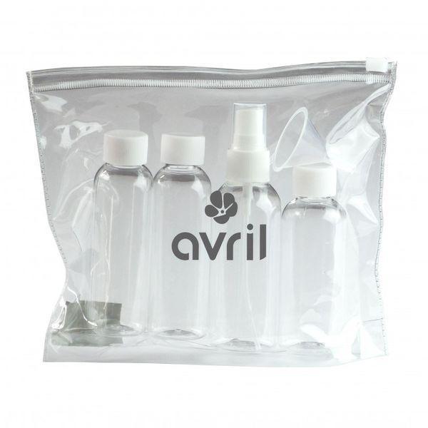 Avril Organic Matkapullosetti läpinäkyvässä pussukassa